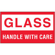 3 X 5 Glass Handle With Care Labels Red/white 5000 Rolls