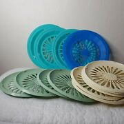 Set Of 13 Vtg Plastic Paper Plate Holders Trays Picnic Bbq Appx 10 Asst Colors