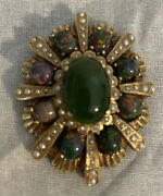 Vintage Fine 14k Yellow Gold Opal Jade And Seed Pearl 2andrdquo Brooch Pin Pendant 27.5g