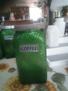Vintage Owens Illinois -green Glass -coffee -canister Jar