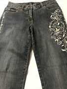 Inc Concepts Women's Jeans Embroider Sequin Beaded Straight Stretch Size 6 X 32