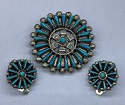 Vintage Sterling Silver Turquoise Zuni Native Petit Point Earrings Pin Pendant