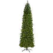 Nearly Natural 9ft. Slim Green Mountain Pine Artificial Christmas Tree With 600