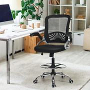 Mesh Drafting Chair Mid Back Office Desk Chair Adjustable Height Flip-up Arm New