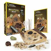 National Geographic Mega Fossil Dig Kit - Excavate 15 Real Fossils Including