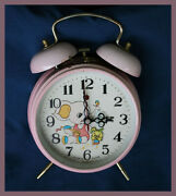 Vintage Hero Pink Wind-up Alarm Clock With Elephant And Rabbit - Works