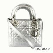 Dior Lady Dior Mini Canage 2way Silver Leather Womenand039s Handbag From Japan