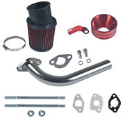 Silver Exhaust Pipe Red Air Filter Adapter For Predator 212cc Go Kart Gx160/200