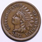 1874 Indian Head Cent Penny Choice Au Free Shipping E647 Tpr