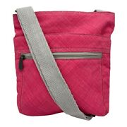 Thirty One Crossbody Bag/tote Hot Pink And Gray Strap Zip