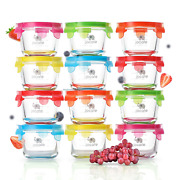 Glass Baby Food Storage Containers | 12 Set | Leakproof Glass Baby Food Jars | And