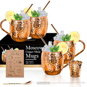 Moscow Mule Copper Mugs - Set Of 4-100 Handcrafted Solid Copper Mugs, Gift Set