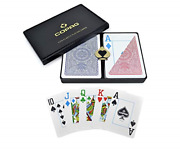 Copag 4-color Design 100 Plastic Playing Cards Poker Size Jumbo Index Red/blue