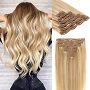 Lacer Full Head 22 Inch Human Hair Clip In Hair Extensions Light Golden Brown