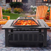 Wood Burning Fire Pit Tables W/ Screen Lid Bbq Fireplace Garden Stove Backyard
