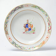 Antique Chinese Armorial Plate Porcelain Jiaqing Period Dragons Hay Family
