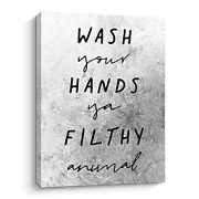 Color Valley Art Funny Bathroom Signs Wall Decor - Wash Your Hands Ya Filthy -