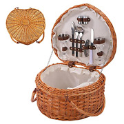 Picnic Basket Wicker Heart Shaped With Lid And Fold Able Handles Rattan Storage