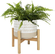 Ceramic Plant Pot With Stand - 7.3 Inch Boho Style Decorative Cylinder Flower