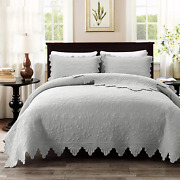 Brandream Luxury Farmhouse Bedding Quilt Set Grey King Size Quilted Bedspread 3