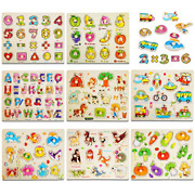 8pack Wooden Peg Puzzles For Toddlers, Kids Puzzles Set - Letters, Numbers, And