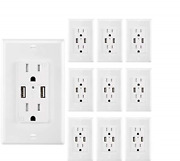 Usb Outlet Charger Wall Plate 10pack, 4.2a High Speed Decora Outlet Receptacle And