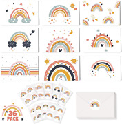 Boho Rainbow Greeting Cards With Envelopes Stickers Blank Note Cards Muted Theme