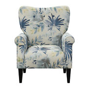 Wallace And Bay Kelley Blue Floral Accent Chair With Button Tufting And Roll Arms