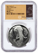 2021 South Africa Big 5 Series Ii Elephant 1 Oz Silver R5 Coin Ngc Ms70 Fr
