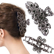 Crown Guide Fancy Hair Claw Jaw Clips Pins For Womens, Vintage Rhinestone Hair