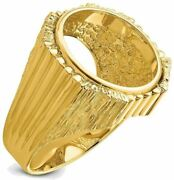 14k Yellow Gold Mens Vertical Fluting W/ Textured Sides 17.8mm Coin Bezel Ring