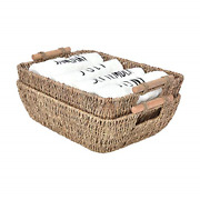 Storageworks Hand-woven Large Storage Baskets With Wooden Handles, Seagrass For