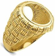 14k Yellow Gold Polished Mens Woven Design 13mm Coin Bezel Ring