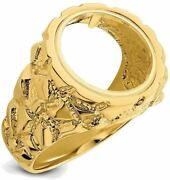 14k Yellow Gold Polished Mens Nugget-style 13mm Coin Bezel Ring