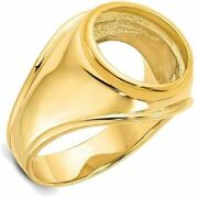 14k Yellow Gold Mens Comfort Fit Concaved 13mm Coin Bezel Ring