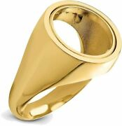 14k Yellow Gold Mens Polished Classic Open Back 13mm Coin Bezel Ring