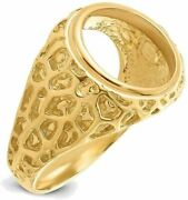 14k Yellow Gold Polished Mens Carved Nugget-style 13mm Coin Bezel Ring
