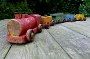 Vintage Wooden Handmade Toy Train Engine Carriage Home Decor Playroom Over 76 Cm