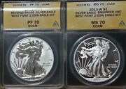2013 American Silver Eagle West Point 2 Coin Set Ms70 And Pf70