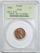 1955 Double Die Obverse Lincoln Cent Pcgs Vf 35 1955/1955 Ddo Undergraded Ogh