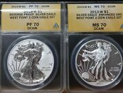 2013 W Silver American Eagle West Point 2 Coin Set Ms70 And Pf70