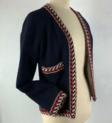 1980s Boutique Wool Jacket 38 Navy Blue Red White Chevron Trim Couture