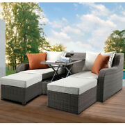 Rattan Sectional Chaise Lounger Sofa Set W/ottomanandpillows Patio Furniture Set