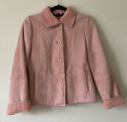 Vintage Audrey Talbott Suede Blush Pink Shearling Coat Jacket Small Leather