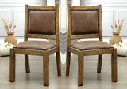 Gianna Set Of 2 Industrial Dining Side Chairs Rustic Pine Wood Nailhead Trim