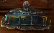 Vintage Indiana Butter Dish W/ Lid Glass Iridescent Blue Carnival Harvest Grape