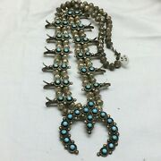 Vintage Sterling Western Squash Blossom Necklace Turquoise Stones