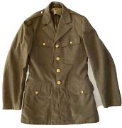 Vintage 1941 Wwii Us Army Dress Jacket Olive Drab Size 36l Menand039s Small Very Good