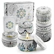 Scented Candles Gift Set Natural Soy Wax Stress Relief Gifts For Women 6