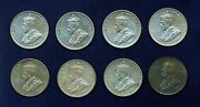 Australia George V 1931 1 Shilling Silver Coins Group Lot Of 8